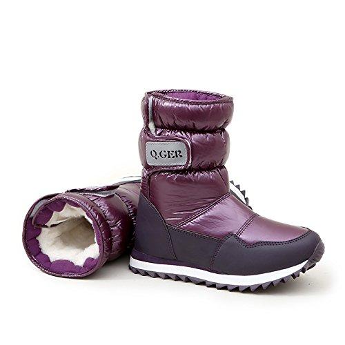 SQIAO-X- Pendenza in pelle con stivali in primavera e in autunno e in inverno alta tacco alto stivali e scarpe da neve Il nero di spessore