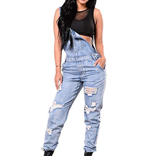 Odot Damen Latzhose Jeans, Taschen Playsuit Lange Hosen Sexy Casual Breite Beine Hosen Loose Denim Baggy Spielanzug Latzjeans Jumpsuit Overalls (M,Blau)