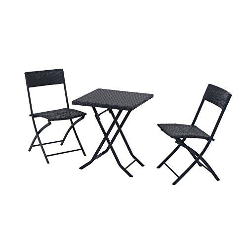 Outsunny Gartenmöbel Polyrattan Bistro set, Balkonmöbel Garnitur Sitzgruppe, 3 teilig, schwarz