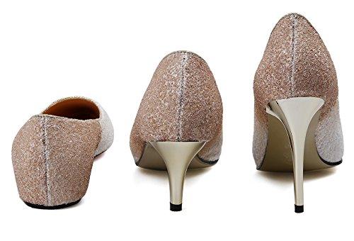 HooH Donna Scarpe col tacco Scarpe a punta Tre Tacchi Paillettes Gradient Fltas E Matrimonio Scarpe col tacco Slip On Bianco-1.5CM