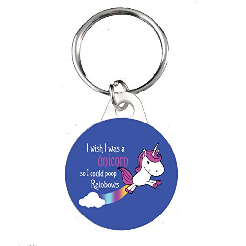 Funky Gifts I Wish I Was A Unicorn So I Could Poop Rainbows 25mm Button Keyring