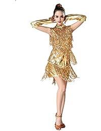 JEELINBORE Donna Vestito Salsa Nappe Costume Danza da Ballo Abito Tango  Rumba Valzer Clubwear 9126c7cec1b