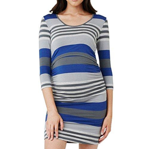 Striped Bodycon Mini (Ruiboury Langarm Frauen Still Schwangere Striped Mädchen Mini Stillen Umstandskleid)