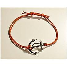 Pulsera Pendientes y Colgante Plata de Ley 925, Diseño de Día de San Valentín/Cordón Encerado Ladrillo Rojo