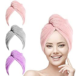 URAQT 3 Stück Haarturban Handtuch, Haartrockentuch, Haarturban Handtuch für die Haare, Schnelltrocknendes Handtuch Pink/Grau/Lila
