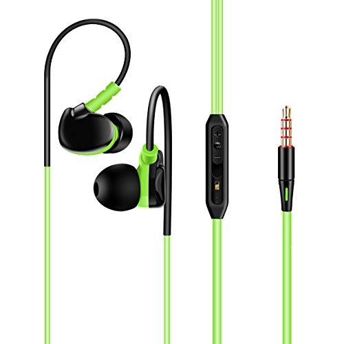 Plustore Wired In-Ear Kopfhörer Noise-Cancelling Sport Earbuds Ohrhörer mit Mic Stereo Hi-Fi Musik Workout für Jogging Gym für iPhone Android und PC