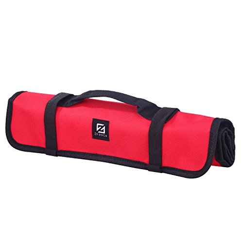 ZhaoCo Tool Roll Pouch, Tool Roll Bag 29 Pockets Socket - Wrench Roll Up Tool Bag Kit, Rolling Organizer, Tool Storage Tote for Garden Tools, Electricians and Mechanics - Red