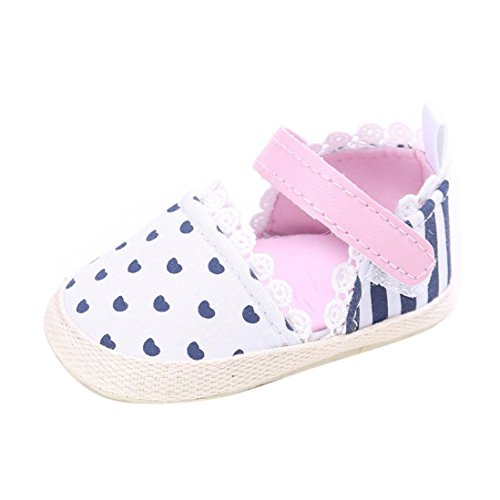 Longra Petites filles Chaussures à Rayures Coeur Sneaker Antidérapant Soft Sole Toddler Chaussures (#12, Blanc) Rose