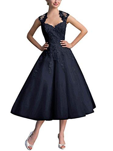 Find Dress Elégant Robe Vintage d'Audrey Hepburn Année 50s Rockabilly Swing pour fête Noel Noble Robe de Gala Soirée Grande Taille pour Femme Ronde Dentelle Qualité Marine Foncé