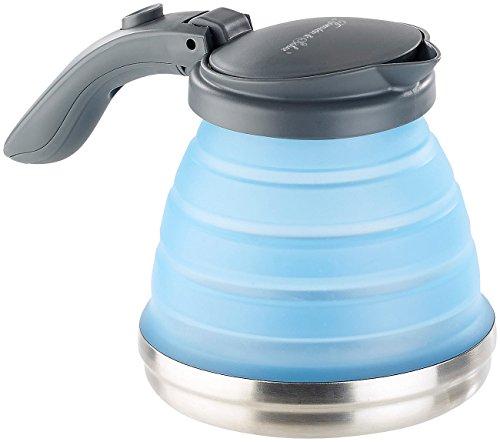 Rosenstein & Söhne Camping Wasserkessel: Faltbarer Silikon-Camping-Wasserkessel mit Edelstahlboden, 800 ml (Faltbarer Wasserkocher)