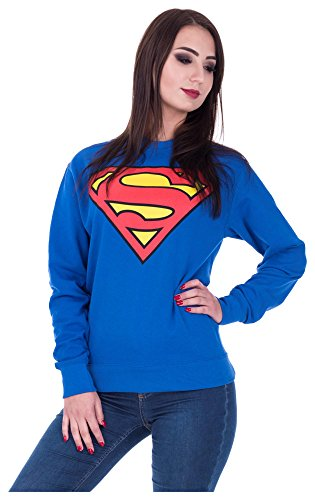 Superman Pullover Sweatshirt Fledermaus Frontprint Comic Superheld (M, Superman Blau) (Coole Superhelden-kostüme)