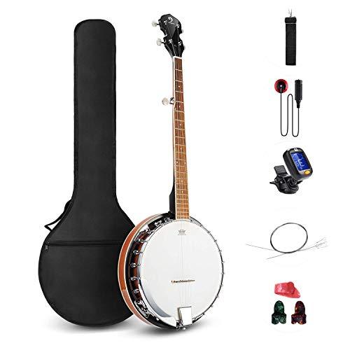 Vangoa 5 Saiten Banjo Remo Kopf geschlossen Solid Back Banjos mit Anfänger Kit, Stimmgerät, Strap, Pick-up, Saiten, Picks und Tasche
