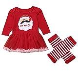 Bauycy Infant Baby Girl Santa Print Strampler Kleid Baby Langarm Weihnachten Santa Print Mesh Spitzenkleid + Spitzenstreifen Beine Set