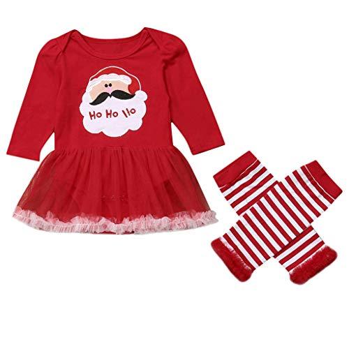 Bauycy Infant Baby Girl Santa Print Strampler Kleid -