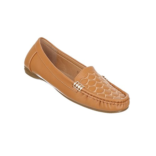 Damen Schuhe Mokassins Mit Deko Versehene Camel