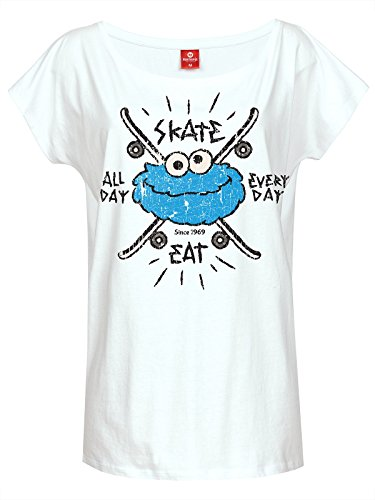 Sesame Street Cookie Monster - Skate All Day Maglia donna bianco XXL