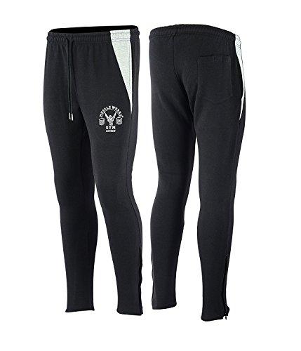 Muscle Works Gym Músculo Funciona Gimnasio Supremo Forro Polar Pantalones –  Negro Gris Slim Fit 1c97b8aac2d02