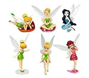 iDream Kid's PVC Tinker Bell Fairy Princess Doll Action Figures Toy Gift Set (Multicolour) - Pack of 6