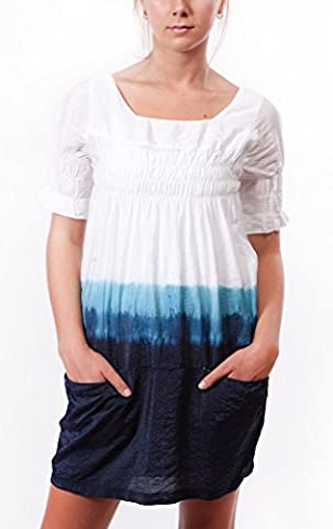 Ladies Blue Ombre Dyed Sheer Tunic Dress, White (X-Large)