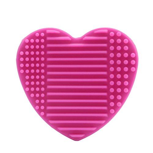 Riou Silikon-Ei-Reinigungs-Handschuh-Make-upwaschbürste-Trockengestelle Scrubber-Werkzeug-Reinigung (Hot Pink)