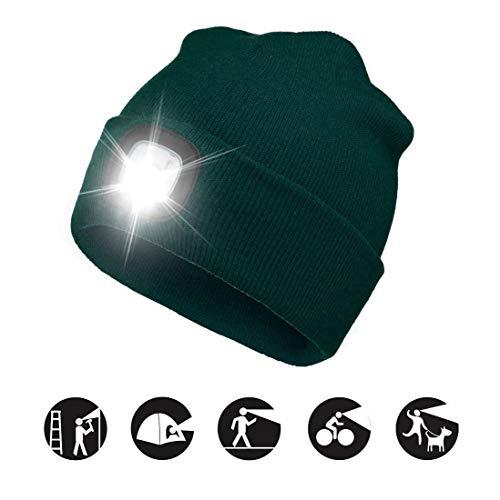 ATNKE LED beleuchtete Mütze, wiederaufladbare USB-Laufmütze mit extrem Heller...