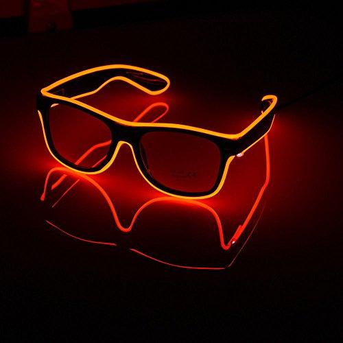 lle EL Wire Leuchtbrille Leuchten LED Leucht Sonnenbrille Partybrille mit Batterie Box für Party Weihnachtsfeiern Halloween (Orange) (Orange Led-halloween-lichter)