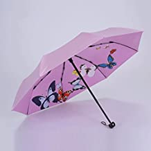Paraguas LXF Anti-UV Mujer, plegable, brote lindo viento (Color : Pink