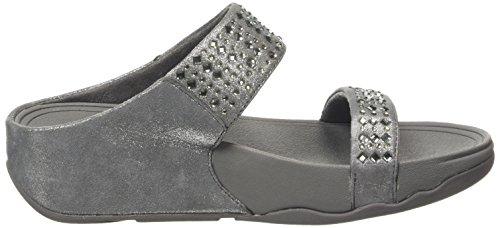 FitFlop Novy Slide, Sandales Plateforme femme Gris - Grey (Pewter 054)