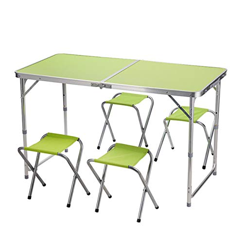 WZHFOLDINGTABLE Klapptisch Und Hocker Set Stall Outdoor Multifunktions Tragbare Aluminiumlegierung Einfache Esstisch, Multi-Color-Stil Optional (Farbe : Green, Design : B) -