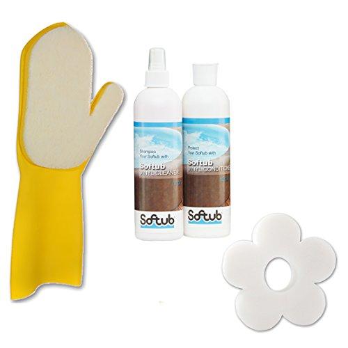 POWERHAUS24 Softub Cleaner & Conditioner Set XXL mit Reinigungshandschuh & Scumflower