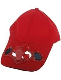yeah67886Camping viaje sombrero funciona con energía solar ventilador refrigerado por aire Gorra de béisbol y # xFF08; Rojo y # xFF09;