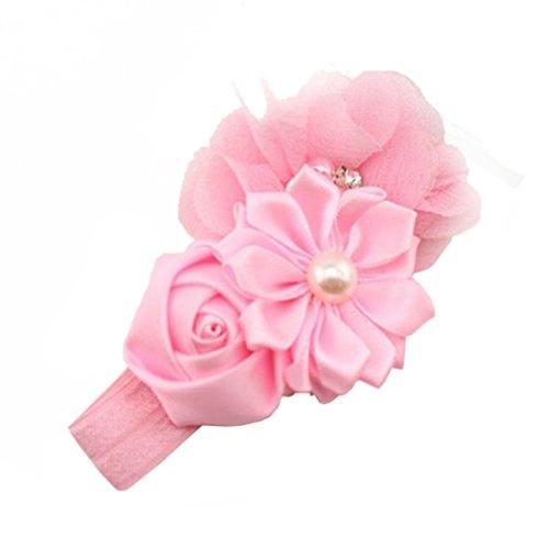 HENGSONG Schöne Engel Mädchen Baby Haarreif Haarband Stirnbänder Perlen Blumen (Rosa)