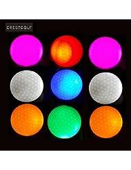 10pcs-crestgolf Mixed Color Super brillante noche Flyer brillante LED pelota de Golf, Led Flash pelota de Golf, noche resplandor Flash luz Up LED pelota de Golf