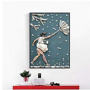 NIESHUIJING Kunstdruck auf Leinwand, abstrakte Steinfigur, Kunst, Bilder, Poster und Drucke, moderne Heimdekoration, 50…