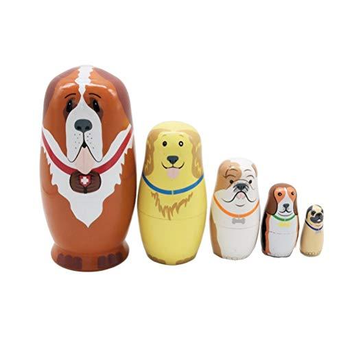 JJSFJH Matroschka Russische Nesting Dolls Holz Hündchen Stapeln Spielzeugpuppe 5er Hundeanzug Alle hohl, um ineinander zu passen (Kostüm Der Russischen Folklore)