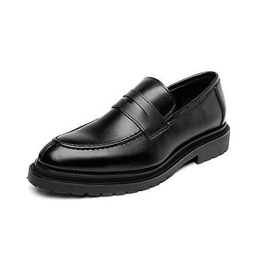 Sunny&baby scarpe slip-on da uomo smooth frosted pu leather upper mocassini gentlemen business outsole oxfords resistente all'abrasione (color : nero, dimensione : 42 eu)