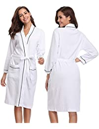 aedf841b9a Vlazom Waffle Dressing Gowns Unisex Kimono Cotton Robe Lightweight Bathrobe  for All Seasons Spa Hotel Sleepwear