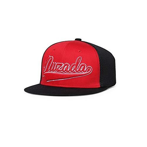 Baseballmütze Hip Hop Caps Sommer Flache Hut Hip Hop Hut Visier Baseballmütze Einstellbare Hut Stickerei Hut Baseball Mesh Baseballmütze Unisex,Rot -