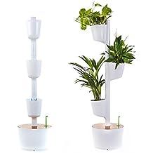Citysens Jardín Vertical Modular con Autorriego, Blanco, 3 Macetas