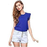 TYERY Color Sólido De Manga Corta Camiseta,zafiro,S