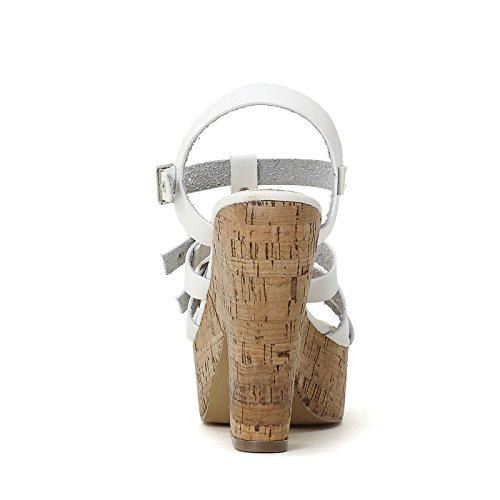 PRENDIMI by Scarpe&Scarpe - Sandalen mit Absatz, Doppelschnalle und T-Bar, mit Absätzen 12 cm Weiß