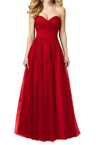 Toscana sposa semplice forma di cuore Tuell lunga Fest sera, abiti party Ball abiti damigella d' onore Rosso