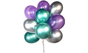 PuTwo Palloncini Festaioli 50 Pz Palloncini in Lattice & Palloncini Cromati Palloncini Compleanno Palloncini Decorazioni per Feste di Compleanno Festa de La Sirenetta - Viola Scuro & Verde & Argento