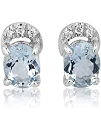8ff26d4326b4 Mille Amori pendientes para mujer – oro blanco 9 quilates 375 1000 –  diamantes 0.07 quilates – Aigue Marine…
