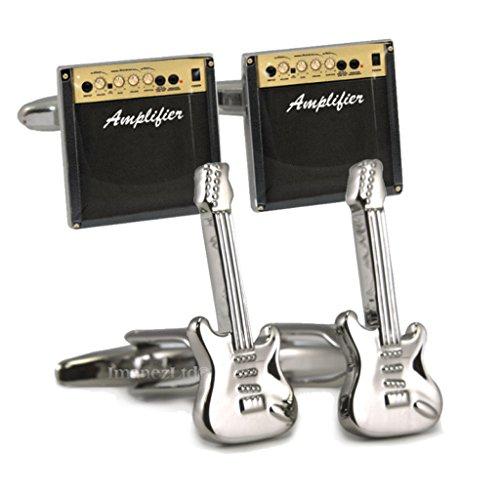 Schneiden Sie Style Gitarre und amp Manschettenknöpfe in Leder Präsentation Fall