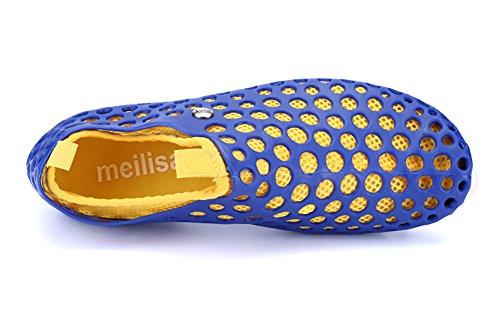 Superleichte Wassersportschuhe Liebspaar Zweiteilige Crocs Strandschuhe Schnelltrockende Wasserschuhe Badeschuhe für Damen und Herren Blau und Gelb