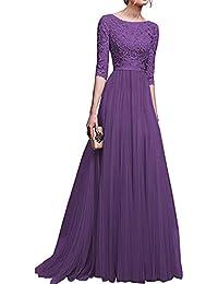 981dd9ac9d4ee Wagyunfei Prom Elegante Serata Abiti da Sera Lunghi in Chiffon di Pizzo  Floreale con Maniche Lunghe