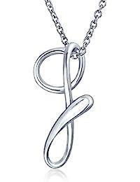 Bling Jewelry Letra G Plata Esterlina Colgante inicial ecuencia 18 pulgada