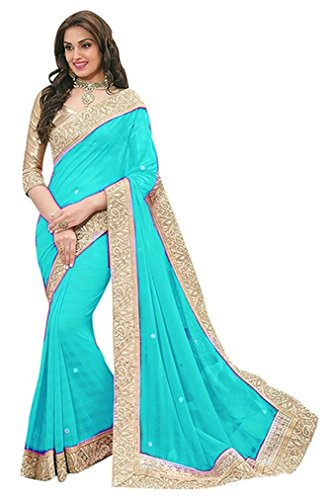EShop Online Women's Georgette Saree with Blouse Piece, Free Size (DHUDHIYA PATTA 306, Sky Blue)