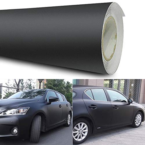 Gfyee Auto Folie Schwarz Matt 12x60' Car Wrapping Folie 3D vinyl folie Flexibel Klebefolie Sonnenschutz Folie, Selbstklebend Sonnenschutz Autofolie